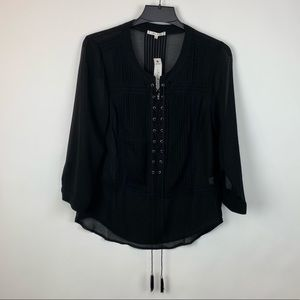 Willow and Clay Sheer Black Lace Up Blouse